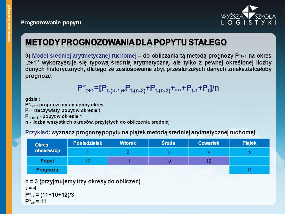 P*t+1=[Pt-(n-1)+Pt-(n-2)+Pt-(n-3)+...+Pt-1+Pt]/n